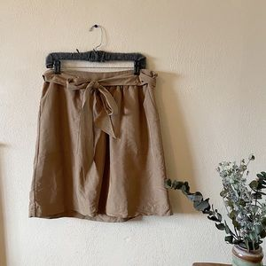 Beige Paper Bag Tie Skirt with Pockets (Target)
